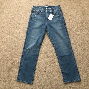 Good American High Rise Straight Distressed Jeans